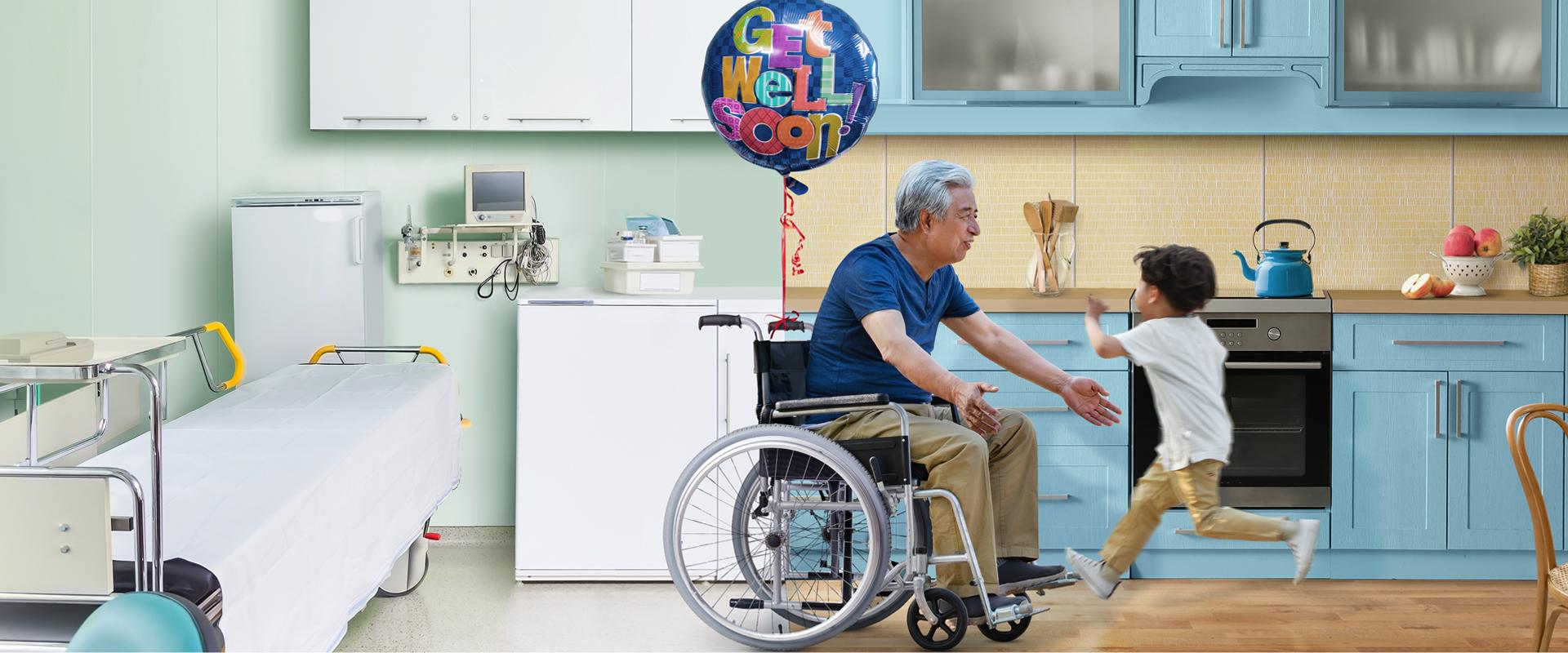 grandpa feeling better with grand kid