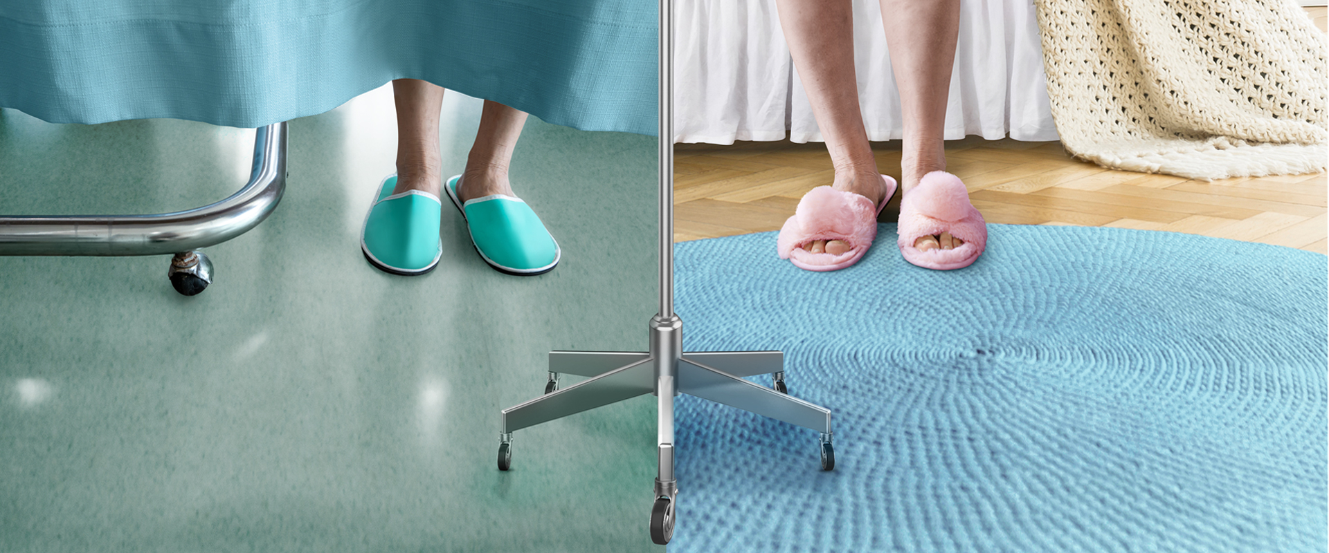 Slippers at hospital vs home